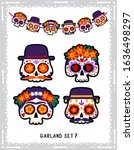 male and female mexican skulls... | Shutterstock .eps vector #1636498297