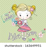 girl with bouquet | Shutterstock .eps vector #163649951