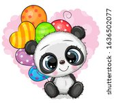 greeting card cute cartoon... | Shutterstock .eps vector #1636502077