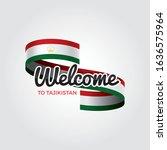 welcome to tajikistan flag.... | Shutterstock .eps vector #1636575964