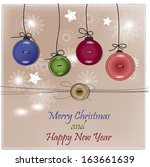 christmas card with buttons | Shutterstock .eps vector #163661639