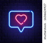 heart neon sign. neon like in... | Shutterstock .eps vector #1636624927
