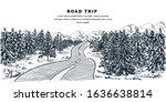 road through pine forest.... | Shutterstock .eps vector #1636638814