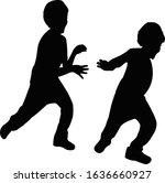 two boys running silhouette... | Shutterstock .eps vector #1636660927