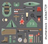 camping equipment and tools.... | Shutterstock .eps vector #163667729