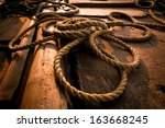 Coarse Coconut Rope At Wooden...
