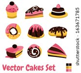 cakes and sweets vector set | Shutterstock .eps vector #163671785