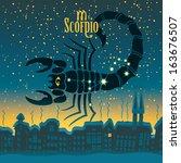 scorpio sign in the starry sky... | Shutterstock .eps vector #163676507