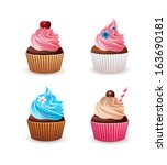 cupcake set isolated on white | Shutterstock .eps vector #163690181