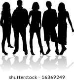 friends   black silhouettes | Shutterstock .eps vector #16369249