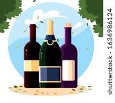 wine bottles with background... | Shutterstock .eps vector #1636986124