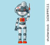 serious and focused robot... | Shutterstock .eps vector #1636999111