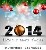 2014 new year colorful... | Shutterstock .eps vector #163700381