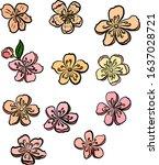 cherry blossom vector... | Shutterstock .eps vector #1637028721