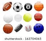 abstract polygonal sports balls | Shutterstock .eps vector #163704065