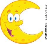 smiling moon cartoon mascot...
