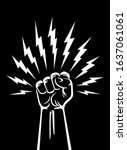 fist hand up with around... | Shutterstock .eps vector #1637061061