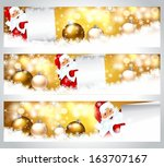happy santa claus on banners | Shutterstock .eps vector #163707167