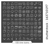 100 line icon set. trendy thin... | Shutterstock .eps vector #163710197