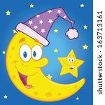 smiling crescent moon with... | Shutterstock . vector #163713161