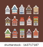 colorful traditional amsterdam... | Shutterstock .eps vector #163717187