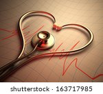 stethoscope in shape of heart... | Shutterstock . vector #163717985