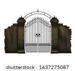 old stone cemetery fence and... | Shutterstock .eps vector #1637275087