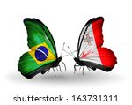 two butterflies with flags on... | Shutterstock . vector #163731311