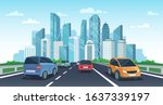 cars on highway to town. city... | Shutterstock .eps vector #1637339197