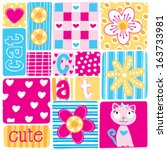 beautiful patchwork flower cat... | Shutterstock .eps vector #163733981