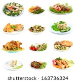 collage of delicious dishes... | Shutterstock . vector #163736324