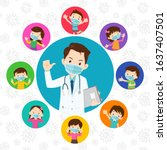 doctor and children wear a... | Shutterstock .eps vector #1637407501