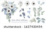 vector floral set with leaves...   Shutterstock .eps vector #1637430454