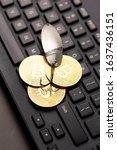 bitcoin coins on a hook over... | Shutterstock . vector #1637436151