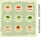 vegetables set labels  garlic ... | Shutterstock .eps vector #163745897