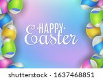 easter banner. eggs with a... | Shutterstock .eps vector #1637468851