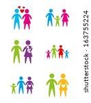different family over white... | Shutterstock .eps vector #163755224