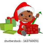 cute baby open christmas gift