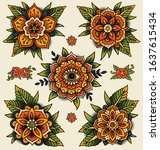 traditional decorative tattoo... | Shutterstock .eps vector #1637615434