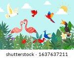 tropical love birds in exotic... | Shutterstock .eps vector #1637637211