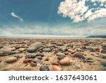 Beautiful scenery between the rocks and sand beach