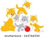 cat and kittens | Shutterstock .eps vector #163766534