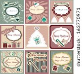 vintage christmas label set in... | Shutterstock .eps vector #163770971