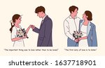 romantic couple. proposing in a ... | Shutterstock .eps vector #1637718901