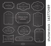 Vintage frame set on chalkboard retro background. Calligraphic design elements. | Shutterstock vector #163772489
