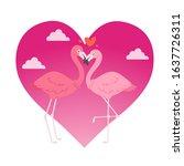 Flamingo Couple In Love Cartoo...