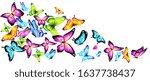 color butterflies fly on a... | Shutterstock . vector #1637738437