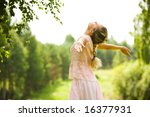 photo of girl standing with her ...   Shutterstock . vector #16377931