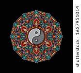 yin yang mandala color design ... | Shutterstock .eps vector #1637951014
