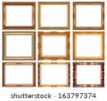 old antique gold frame isolated ... | Shutterstock . vector #163797374